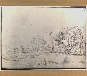 Duinlandschap met bomen en boerderij in Noord-Holland