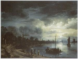 Maanverlicht riviergezicht