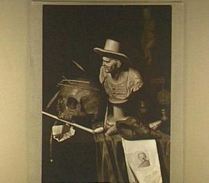 Vanitasstilleven van schedel, buste, rookgerei, schelpen en een prent