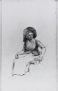 Zittende vrouw met hoed en kruik