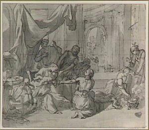 De jonge Mozes wordt in het met pek besmeurde rieten mandje gelegd (Exodus 2:3)