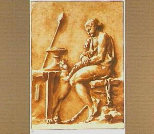 Bacchus zittend aan tafel