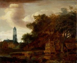 Gezicht op Utrecht vanuit het noordoosten, met Domkerk, Domtoren, waltoren De Hond en bolwerk Wolvenburg