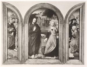 Drie apostelen (links); Christus en de Samaritaanse vrouw (midden); de Samaritaanse vrouw in gesprek met enkele mannen (rechts)