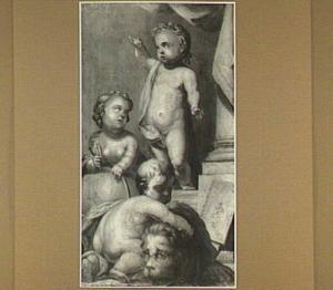 Allegorie met drie putti als personificaties van Geografie, Victorie en de Republiek