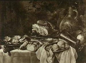 Stilleven met oesters, ham, brood, geschilde citroen, avondmaalsbeker en baardman-kruik