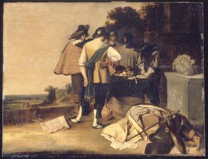 Soldaten bij een als tafel gedekte ton in een landschap