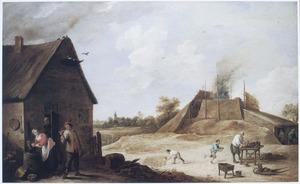 Landschap met steenbakkerij