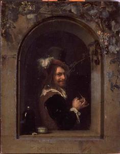 Man die zijn pijp stopt in een venster