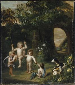 Portret van vier naakte kinderen spelende met een schommel en twee honden