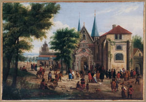 Gezicht op een kerkplein met figuren