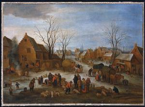 Winterlandschap met een varkensmarkt