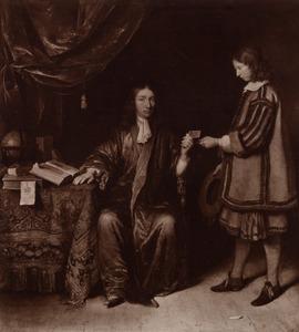 Portret van een man, mogelijk Johan de Vooght (1640-1683), met een bediende