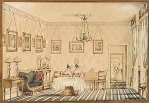 De zussen Anna Jacoba van Gennep (1814-1885) en Sophie van Gennep spelen quatre-mains in het huis van Michiel Wouters aan het Korte Voorhout te Den Haag, in de achtergrond Anna Gerardina Vrolik (1838-1893) op de arm van haar min