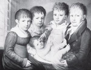 Portret van de kinderen van Arnold Hendrik Koning (1784-1850)  en Eduarda Thalia Eckringa (1786-1865)