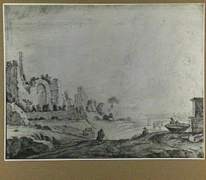 Italianiserend landschap met Romeinse ruïnes