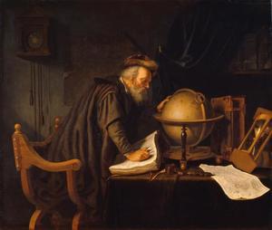 Oude man met een globe, boeken en een zandloper in een in studeervetrek