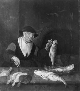Oude visverkoopster