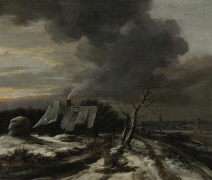 Winterlandschap met gezicht op de Amstel en Amsterdam
