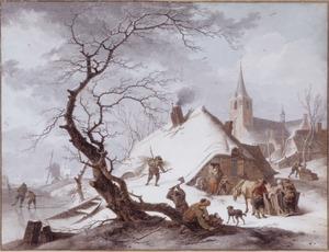 Winterlandschap met boerderij, kerk en arreslee (de Winter?)