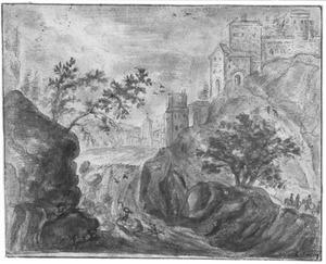Rotsachtig rivierlandschap met kasteel