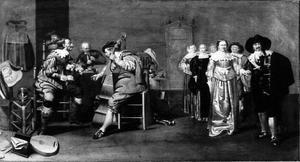 Musicerende mannen in een interieur met dansend gezelschap