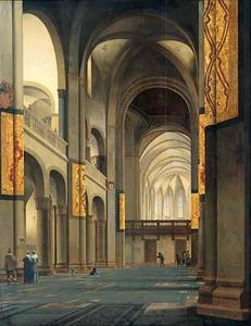 Het middenschip en koor van de Mariakerk in Utrecht, gezien vanuit het westen