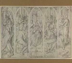 De neerdaling van de Heilige Geest (Pinksteren), geheel links een stichter en zijn patroonheilige