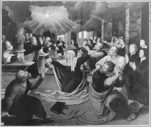 De nederdaling van de Heilige Geest met stichters