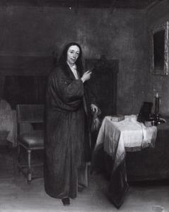 Portret van een man in kamerjas en een brief in zijn hand