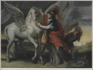 De godin Pallas Athena met het paard Pegasus