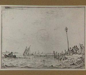 Figuren bij een seinpaal op de oever van een rivier