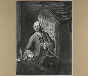Portret van Conradus Zumbag de Koesfelt (1679-1780), medicus, in zijn bibliotheek