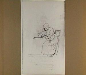 Zittende, schrijvende vrouw