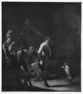 Musicerende boeren en een dansende hond