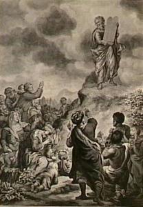 Mozes daalt af van de berg Sinai en brengt de Israëlieten de Tafelen der Wet (Exodus 32:15)