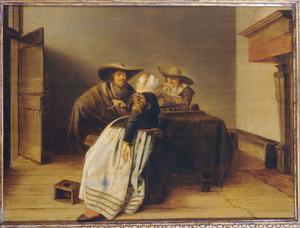 Interieur met rokend gezelschap bij een triktrakbord