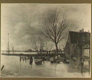 Winterlandschap met arresleden op het ijs bij een boerderij