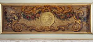 Medaillon met oude man en Mercuriuskop omgeven door ornamenten