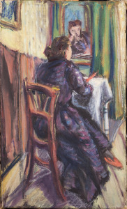Amrey (Annemarie Balsiger) tekenend voor de spiegel