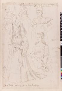 Studie van Raas van Gavere, Antoinette van Baux, Jeanne d'Escornaix en twee andere vrouwen