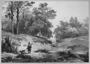 Jagen en hond in heuvellandschap