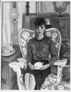 Portret van mevrouw Buning (1904-1961), in interieur
