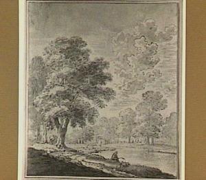 Rivierlandschap met bomen en een hengelaar