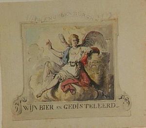 Tegen een toren leunende engel in een decoratieve omlijsting