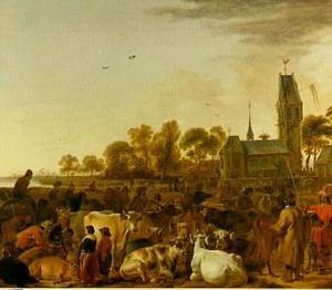 Veemarkt bij een kerk