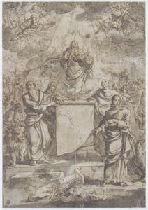 Christus en de vier evangelisten die de afgoderij bestrijden