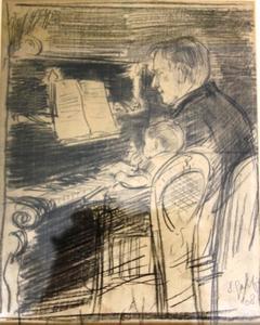 Joop en Hetty Siedenburg spelen piano
