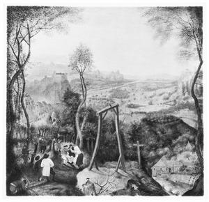 Landschap met dansende boeren en een ekster op een galg