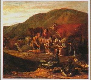 Herders met vee en ganzen in een landschap